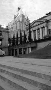 Stramp (steps + ramp) to the Vancouver Art Gallery, with the Hotel Vancouver rising behind/Naomi Reichstein photo