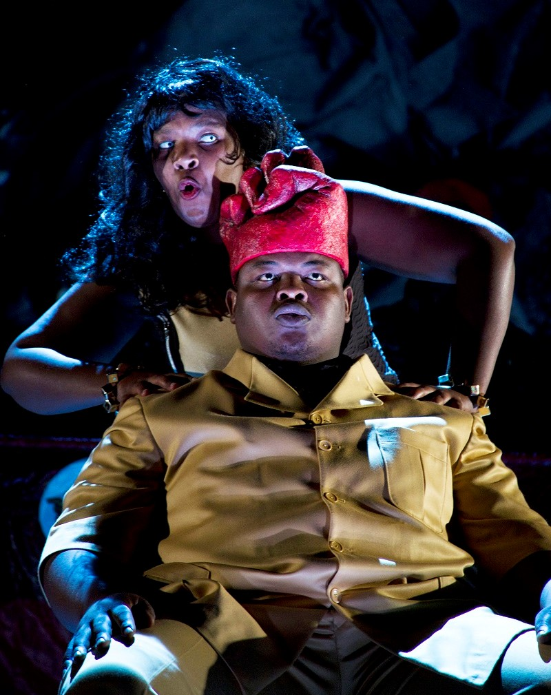 Owen Metsileng as Macbeth and Nobulumko Mngxekeza as Lady Macbeth in a Congolese setting of Verdi, production by Third World Bunfight/photo by Nicky Newman