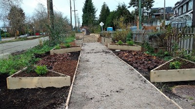 Urban farm bordering Arbutus Greenway at 57th Avenue, Vancouver/Naomi Reichstein photo