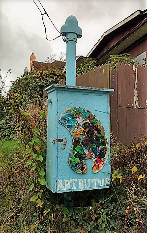"""Artbutus"" utility box as street art along the Arbutus Greenway/Naomi Reichstein photo"